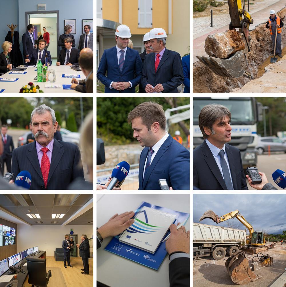 Kolaž fotografija s otvaranja radova iz EU projekta. Ministar Ćorić, direktor Mrakovčić, gradonačelnik Vasilić, načelnici i drugi uzvanici